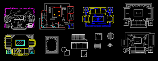 cad十万个为什么 丨 插件分类 丨  cad室内家具图块,内含床,组合桌椅
